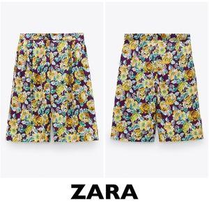 ZARA Purple Floral Printed Bermuda Shorts Size XS